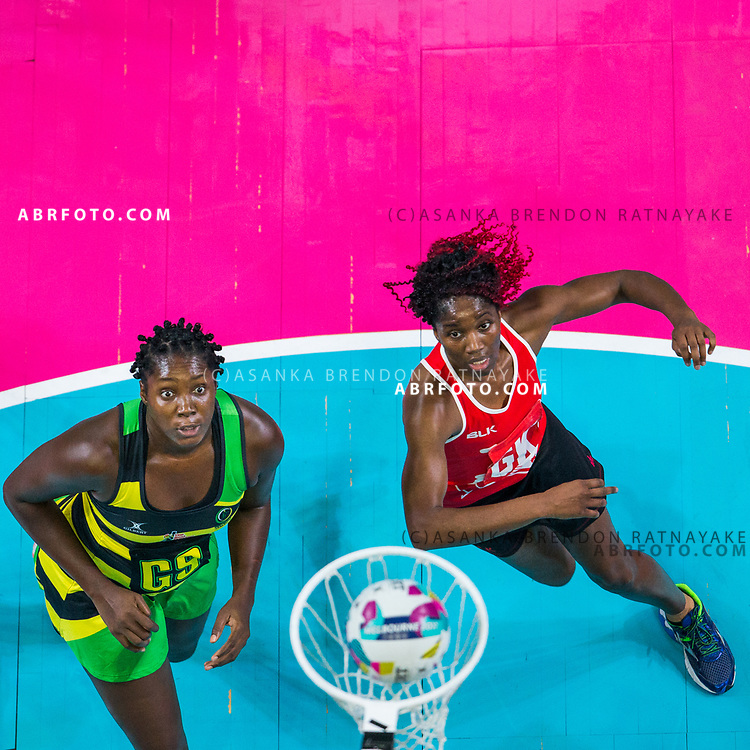 Jhaniele Fowler-Reid and Ama Agbeze look at the ball go in the net during Australia Vs Jamaica Fast5 Netball.