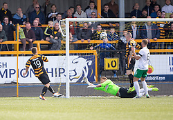 Alloa Athletic's Liam Buchanan scoring their first goal.<br /> Alloa Athletic 2 v 1 Hibernian, Scottish Championship game played 30/8/2014 at Alloa Athletic's home ground, Recreation Park, Alloa.