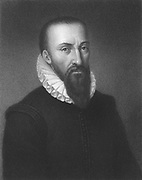 Ambrose Pare (1509-1590) French military surgeon. From 'The Gallery of Portraits', Vol.V, Charles Knight, London, 1835