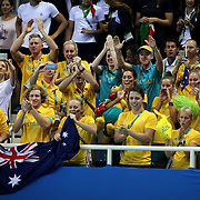Swimming - Olympics: Day 1 The Australian swim team congratulate Mack Horton, Australia, after the medal presentation for winning the Men's 400m Freestyle Final during the swimming competition at the Olympic Aquatics Stadium August 6, 2016 in Rio de Janeiro, Brazil. (Photo by Tim Clayton/Corbis via Getty Images)