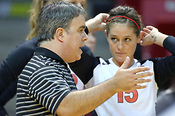 13 October 2011: Adriano De Souza instructs Kristin Stauter during an NCAA volleyball match between the Indiana State Sycamores and the Illinois State Redbirds at Redbird Arena in Normal Illinois.