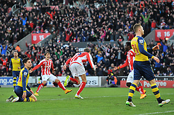 Stoke's Peter Crouch celebrates his goal. - Photo mandatory by-line: Dougie Allward/JMP - Mobile: 07966 386802 - 06/12/2014 - SPORT - Football - Stoke - Britannia Stadium - Stoke City v Arsenal - Barclays Premie League