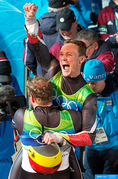 Winter Olympics, Vancouver, 2010. Patric Leitner (below) reacts as he realises he and team mate  Alexander Resch, Germany, have won a medal in the Luge Doubles Final at Whistler Sliding Centre, Whistler, during the Vancouver Winter Olympics. 17th February 2010. Photo Tim Clayton