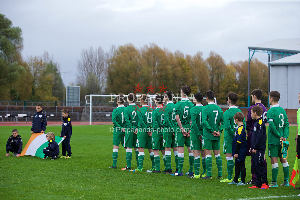 NEWPORT, WALES - Thursday, November 5, 2015: Republic of Ireland players line-up for the national anthem before the Under-16's Victory Shield International match against Scotland at Newport Stadium. (Pic by David Rawcliffe/Propaganda)