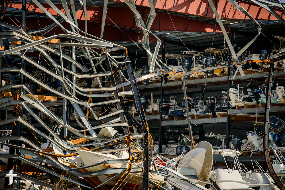 A damaged storage facility for boats from Hurricane Harvey on Thursday, Aug. 31, 2017, in Rockport, Texas. LCMS Communications/Erik M. Lunsford