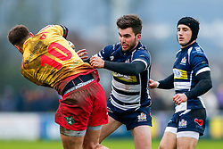 Bristol Rugby Scrum-Half Craig Hampson tackles Scarlets XV Fly-Half Josh Lewis - Mandatory byline: Rogan Thomson/JMP - 17/01/2016 - RUGBY UNION - Clifton Rugby Club - Bristol, England - Scarlets Premiership Select XV v Bristol Rugby - B&I Cup.