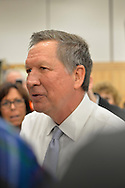 Hempstead, New York, USA. April 4, 2016. JOHN KASICH, Republican presidential candidate and governor of Ohio, hosts a Town Hall at Hofstra University David Mack Student Center in Long Island. Kasich spoke with audience members as he left at end of the event. The New York primary is April 19, and Kasich is the first of the three GOP presidential candidates to campaign in Nassau and Suffolk Counties, and is in third place in number of delegates won.