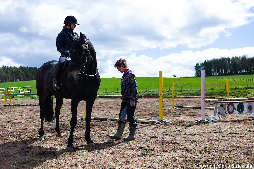 Ancrum, Jedburgh, Scottish Borders, UK. 7th May 2015. The yard of Four Star eventer Emily Galbraith at work prior to the Richmond Horse Trials in Yorkshire.