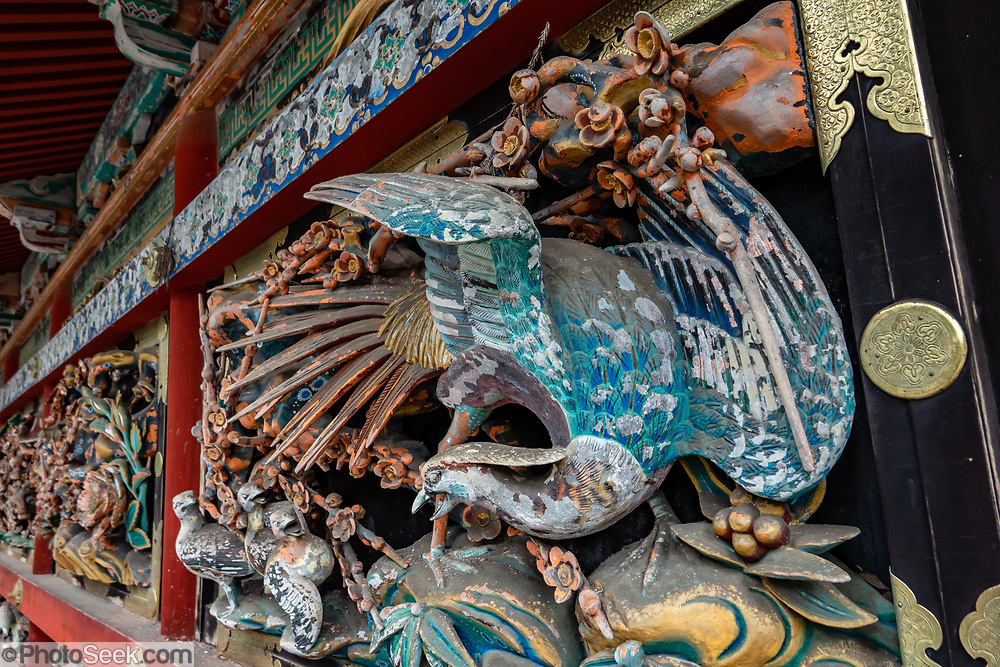 """Ornate wood bird carving at 1600s Toshogu Shrine in Nikko, a UNESCO World Heritage site in Japan. Toshogu Shrine is the final resting place of Tokugawa Ieyasu, the founder of the Tokugawa Shogunate that ruled Japan for over 250 years until 1868. Ieyasu is enshrined at Toshogu as the deity Tosho Daigongen, """"Great Deity of the East Shining Light"""". Initially a relatively simple mausoleum, Toshogu was enlarged into the spectacular complex seen today by Ieyasu's grandson Iemitsu during the first half of the 1600s. The lavishly decorated shrine complex consists of more than a dozen buildings set in a beautiful forest. Countless wood carvings and large amounts of gold leaf were used to decorate the buildings in a way not seen elsewhere in Japan. Toshogu contains both Shinto and Buddhist elements, as was common until the Meiji Period when Shinto was deliberately separated from Buddhism. Toshogu is part of Shrines and Temples of Nikko UNESCO World Heritage site."""