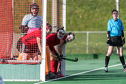 Southgate line up to defend a penalty corner. Southgate v Wimbledon - Investec Women's Hockey League East Conference, Trent Park, London, UK on 25November 2017. Photo: Simon Parker