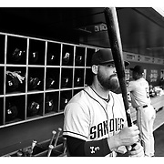 Derek Norris, San Diego Padres, in the dugout preparing to bat during the New York Mets Vs San Diego Padres MLB regular season baseball game at Citi Field, Queens, New York. USA. 29th July 2015. Photo Tim Clayton