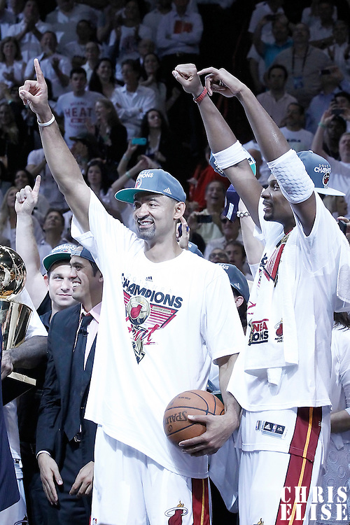 21 June 2012: Miami Heat power forward Juwan Howard (5) celebrates next to Miami Heat power forward Chris Bosh (1) after the Miami Heat 121-106 victory over the Oklahoma City Thunder, in Game 5 of the 2012 NBA Finals, at the AmericanAirlinesArena, Miami, Florida, USA. The Miami Heat wins the series 4-1.
