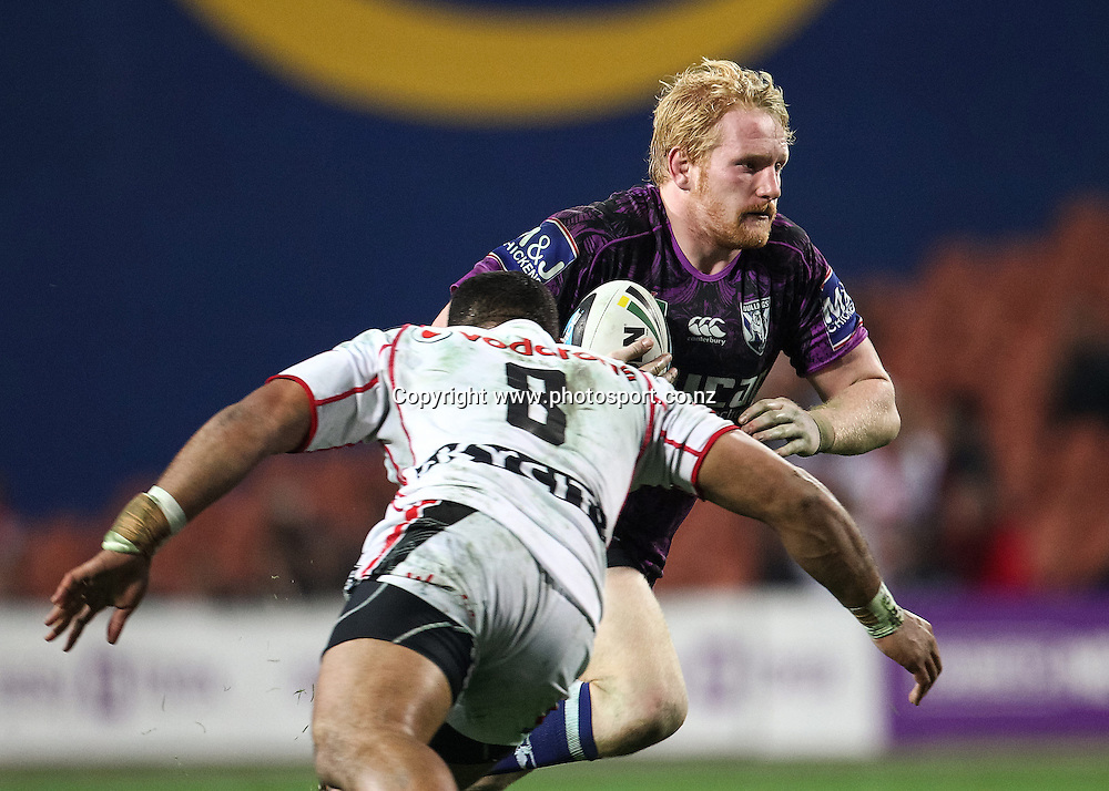 Bulldogs' James Graham in action during the NRL rugby league match - Bulldogs v Warriors played at Waikato Stadium, Hamilton on Sunday 18 May 2014.  Photo:  Bruce Lim / www.photosport.co.nz