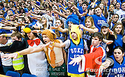 Cameron Crazies welcome Maryland to the floor of Cameron Indoor stadium. Duke beats Maryland 71-64 at Cameron Indoor Stadium