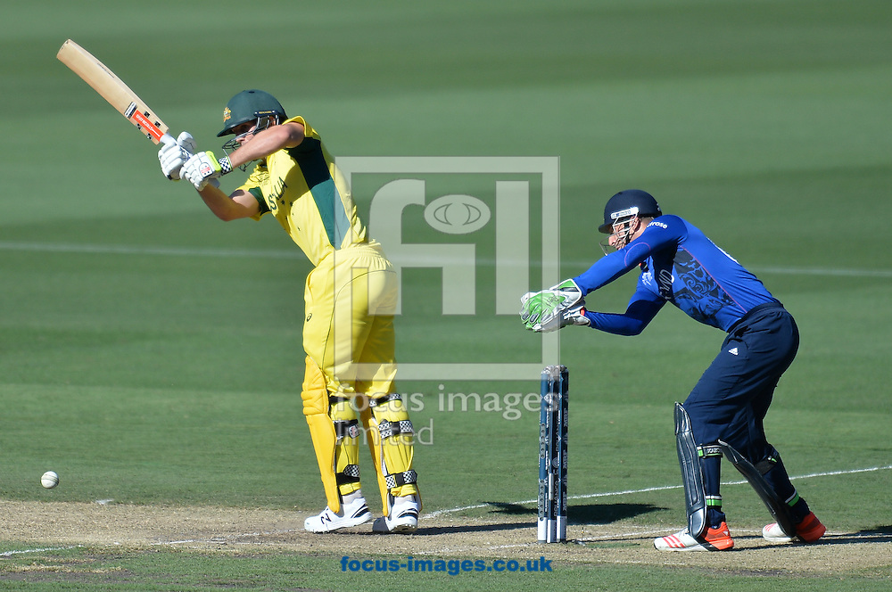 Mitchell Marsh of Australia bats during the 2015 ICC Cricket World Cup match at Melbourne Cricket Ground, Melbourne<br /> Picture by Frank Khamees/Focus Images Ltd +61 431 119 134<br /> 14/02/2015