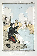 Franco-Prussian War 1870-1871: Siege of Paris 19 Sept 1870-28 Jan 1871.  French National Guardsman on the front line doing his washing in the river. From 'Paris Bloque', Faustin Betbeder.  France Germany