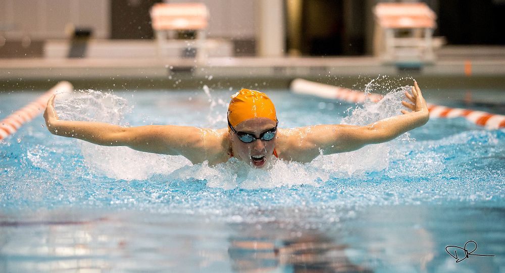 A University of Tennessee swimmer works on the butterfly stroke during a team practice at the UT Aquatic Center.