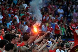 08-05-2011 VOETBAL: KNVB BEKERFINALE FC TWENTE - AJAX: ROTTERDAM<br /> FC Twente win the cupfinal with 3-2 / Twente support publiek Bengal lights<br /> © Ronald Hoogendoorn Photography