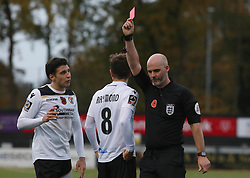 Frankie Raymond of Bromley is shown a straight red card by the match referee - Mandatory by-line: Joe Dent/JMP - 10/11/2018 - FOOTBALL - Hayes Lane - Bromley, England - Bromley v Peterborough United - Emirates FA Cup first round proper