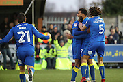 AFC Wimbledon midfielder Tom Soares (19) celebrating after scoring goal to make it, 2-0 during the EFL Sky Bet League 1 match between AFC Wimbledon and Southend United at the Cherry Red Records Stadium, Kingston, England on 1 January 2018. Photo by Matthew Redman.