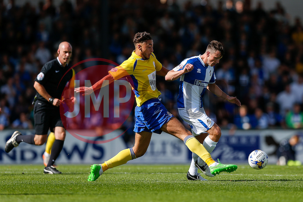 Ollie Clarke of Bristol Rovers is challenged by Matt Crooks of Accrington Stanley - Mandatory byline: Rogan Thomson/JMP - 07966 386802 - 12/09/2015 - FOOTBALL - Memorial Stadium - Bristol, England - Bristol Rovers v Accrington Stanley - Sky Bet League 2.