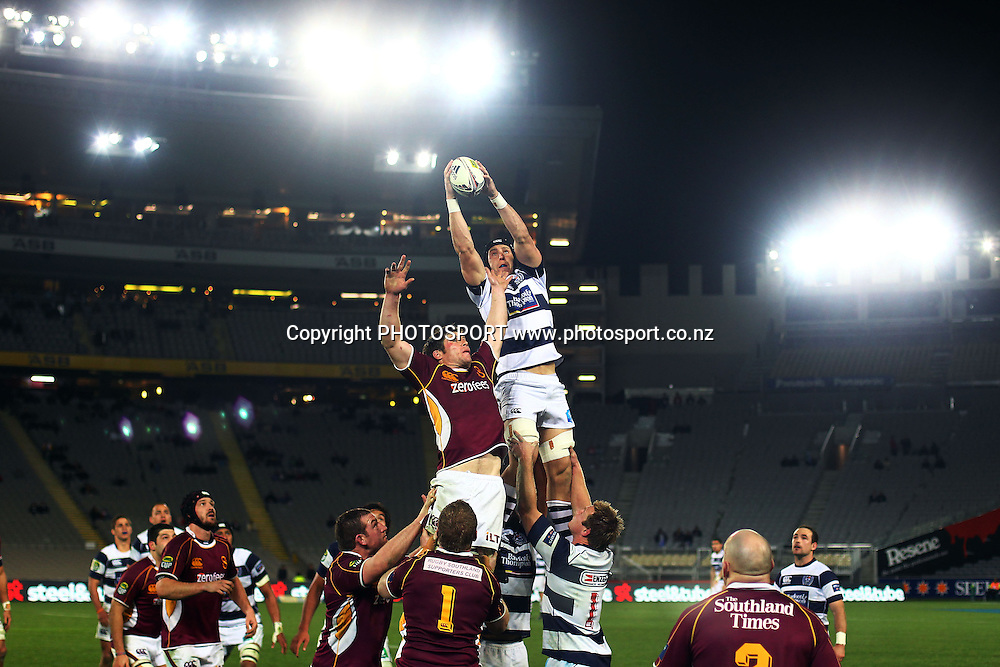 Auckland's Richard Haddon wins a lineout. ITM Cup rugby union match, Auckland v Southland at Eden Park, Auckland, New Zealand. Wednesday 3rd August 2011. Photo: Anthony Au-Yeung / photosport.co.nz