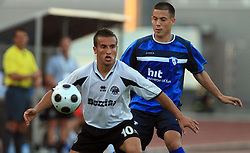 Andrew Cohen of Hibernians vs Goran Cvijanovic of Gorica during 2nd match of 1st round Intertoto Cup soccer match between ND Gorica and Hibernians FC at Sports park, on June 28,2008, in Nova Gorica, Slovenia. (Photo by Vid Ponikvar / Sportal Images)