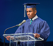 Michael Suber comments during the first ever graduation for Mickey Leland College Preparatory Academy, May 27, 2015.
