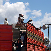 Spectators watching the action during the 50th Anniversary Glenorchy Race meeting. The races, which originally started in the 1920's, were resurrected in 1962 and have been run by local farmers and the rugby club on the first Saturday after New Years Day ever since. Glenorchy, Otago, New Zealand. 7th January 2012