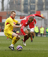 Photo: Steve Bond/Richard Lane Photography. <br /> Nottingham Forest v Walsall. Coca Cola League One. 15/03/2008. Nathan Tyson (R) is brought down by Rhys Weston (L)