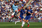 Manchester City Midfielder Phil Foden (47) heading the ball during the FA Community Shield match between Chelsea and Manchester City at Wembley Stadium, London, England on 5 August 2018.