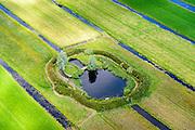 Nederland, Zuid-Holland, Gemeente Bodegraven-Reeuwijk, 10-06-2015; Eendenkooi met vangpijp en rietschermen, gerestaureerd (?). Ten westen van de de Dubbele Wiericke, ten noorden van Driebruggen. Groene Hart.<br /> Duck decoy in the Green Hart of Holland.<br /> luchtfoto (toeslag op standard tarieven);<br /> aerial photo (additional fee required);<br /> copyright foto/photo Siebe Swart