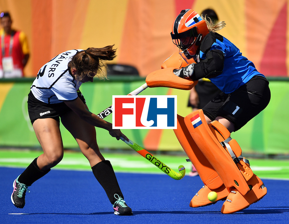 Netherlands' Joyce Sombroek (R) stops Germany's Marie Mavers' shot during the the women's semifinal field hockey Netherlands vs Germany match of the Rio 2016 Olympics Games at the Olympic Hockey Centre in Rio de Janeiro on August 17, 2016. / AFP / Pascal GUYOT        (Photo credit should read PASCAL GUYOT/AFP/Getty Images)