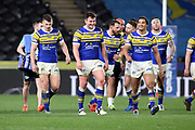 Leeds Rhinos centre Joel Moon (6) scores a try and Leeds Rhinos celbrate during the Betfred Super League match between Hull FC and Leeds Rhinos at Kingston Communications Stadium, Hull, United Kingdom on 19 April 2018. Picture by Mick Atkins.