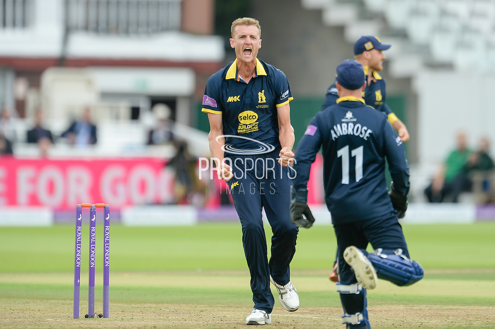 Oliver Hannon-Dalby of Warwickshire celebrates the wicket of Kumar Sangakkara during the Royal London One Day Cup match between Warwickshire County Cricket Club and Surrey County Cricket Club at Lord's Cricket Ground, St John's Wood, United Kingdom on 17 September 2016. Photo by David Vokes.