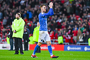 Tom Naylor of Portsmouth (7) claps the away fans during the EFL Sky Bet League 1 first leg Play Off match between Sunderland and Portsmouth at the Stadium Of Light, Sunderland, England on 11 May 2019.