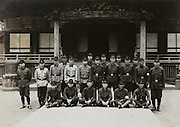 group of soldiers posing for the Ryuhonge temple Yokosuka Japan early 1940s