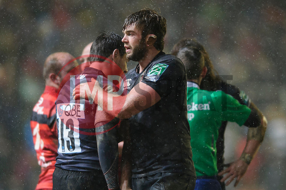 Leicester Lock (#5) Geoff Parling pates Outside Centre (#13) Matt Smith on the back after their sides victory in the match - Photo mandatory by-line: Rogan Thomson/JMP - Tel: Mobile: 07966 386802 20/01/2013 - SPORT - RUGBY UNION - Welford Road - Leicester. Leicester Tigers v Toulouse - Heineken Cup Round 6. This is a crucial match for both sides with the winner topping Pool 2 to progress to the Quarter Final stage of the competition.