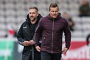 Forest Green Rovers manager, Mark Cooper and Forest Green Rovers assistant manager, Scott Lindsey during the EFL Sky Bet League 2 match between Lincoln City and Forest Green Rovers at Sincil Bank, Lincoln, United Kingdom on 3 November 2018.