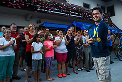 Darko Duric in his home village during reception of Slovenian paralympic swimmer Darko Duric after getting gold and bronze medal at swimming European Championship, Podbrezje, 22th of August, Slovenia Photo by Grega Valancic / Sportida