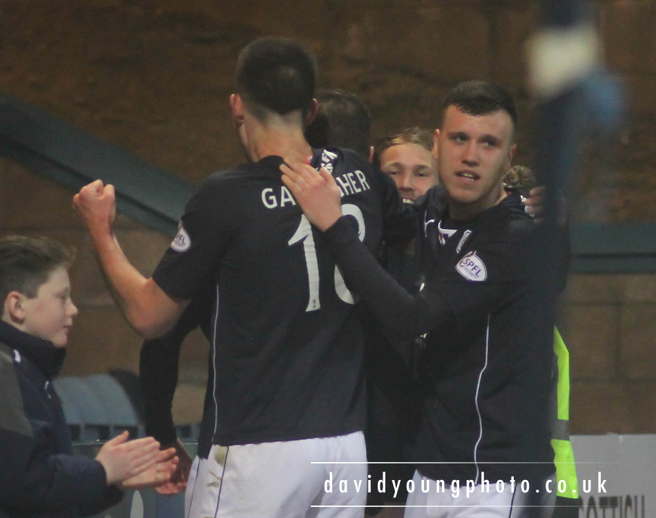 Adam Cummins congratulates scorer Iain Davidson - Dundee  v Queen of the South - SPFL Championship at Dens Park<br /> <br />  - &copy; David Young - www.davidyoungphoto.co.uk - email: davidyoungphoto@gmail.com