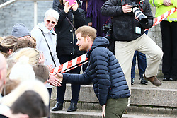 © Licensed to London News Pictures. 21/02/2017. Newcastle UK. HRH Prince Harry joins a training session in the centre of Newcastle with Team Heads<br />