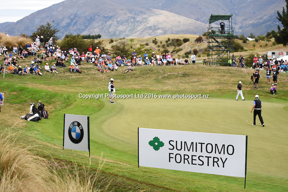 Sponsorhip signage during Round 3 at The Hills during 2016 BMW ISPS Handa New Zealand Open. Saturday 12 March 2016. Arrowtown, New Zealand. Copyright photo: Andrew Cornaga / www.photosport.nz