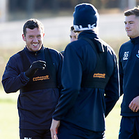 St Johnstone Training….  McDiarmid Park…26.10.18<br />Danny Swanson having a laugh with Murray Davidson pictured during training this morning ahead of tomorrow's game against St Mirren.<br />Picture by Graeme Hart.<br />Copyright Perthshire Picture Agency<br />Tel: 01738 623350  Mobile: 07990 594431