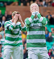 05/10/14 SCOTTISH PREMIERSHIP<br /> CELITC v HAMILTON<br /> CELTIC PARK - GLASGOW<br /> Celtic duo Kris Commons (left) and Leigh Griffiths hold their faces as another chance for their side is denied