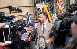 Edinburgh, Scotland,UK. 28 March 2018. Aamer Anwar lawyer of former Catalonia Education Minister and independence supporter Clara Ponsati outside Edinburgh Sheriff Court ahead of her bail hearing. Ponsati faces extradition to Spain. She was granted bail.