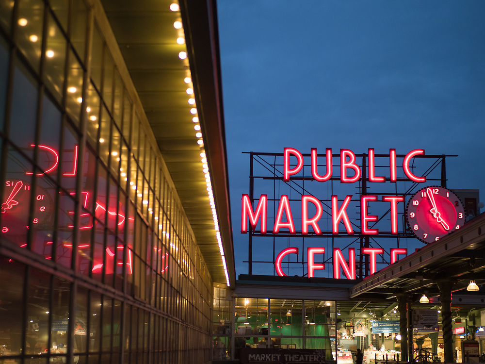 North America, United States, Washington,  Seattle, Neon sign and reflection at Pile Place Market