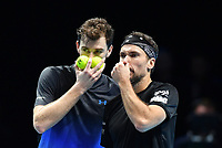 Tennis - 2018 Nitto ATP Finals at The O2 - Day Five<br /> <br /> Group Doubles Group Llodra/Santoro: Jamie Murray (GB) & Bruno Soares (Bra) vs. Henri Kontinen (Fin) & John Peers (Aus)<br /> <br /> Murray and Soares plan the next point.<br /> <br /> COLORSPORT/ASHLEY WESTERN