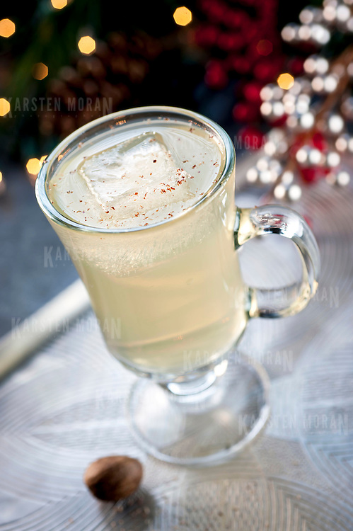"December 2, 2013 - New York, NY : A selection of holiday cocktails, prepared and styled by Suzanne Lenzer, include the ""Green Tea Punch,"" a rum-based drink made with lime juice, and green and mint tea. CREDIT: Karsten Moran for The New York Times"