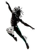 one black man dancer dancing jumping on white background